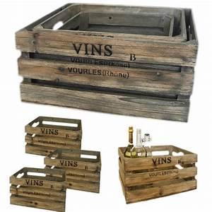 Weinkisten Holz Gratis : 3 weinkisten holzkisten holzkiste set regal obstkiste shabby vintage k rbe kisten ~ Orissabook.com Haus und Dekorationen