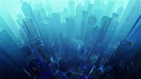 wallpaper skyscrapers cityscape futuristic city blue