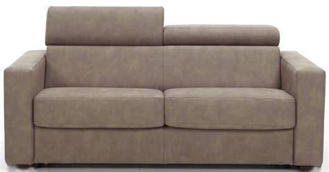 canapé fixe avec têtières revêtement cuir taupe lova