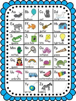 freebie cheerful colors classroom decor alphabet chart