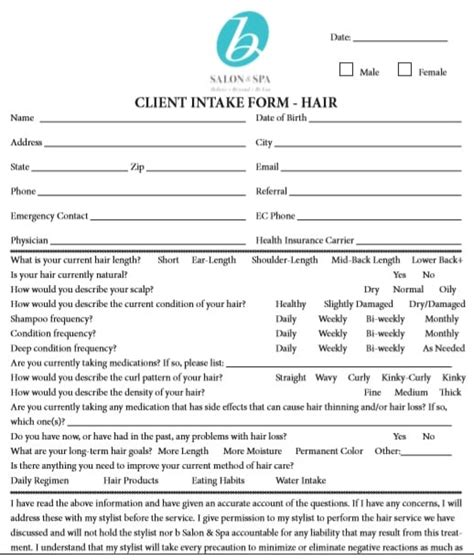 client information sheet templates word