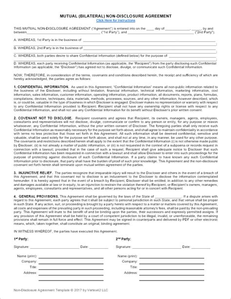 Nondisclosure Agreement Template  Unilateral And Mutual Nda