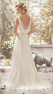 gorgeous a line v neck sweep train lace chiffon dress With cowl back wedding dress