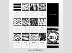 Calendario 2018 blanco y negro Descargar Vectores gratis