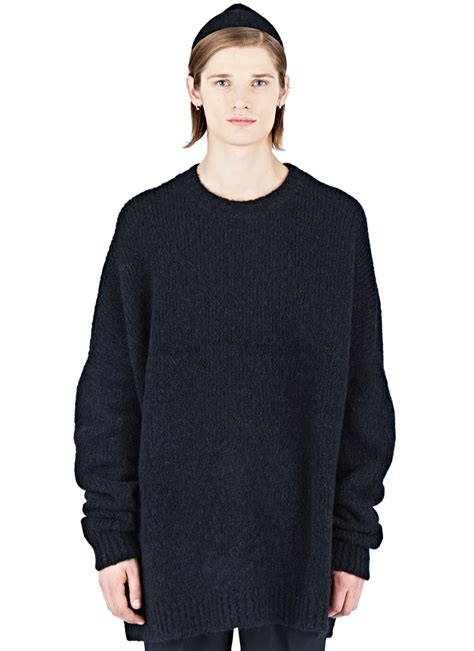 oversized sweater thamanyah oversized crew neck sweater in black for lyst