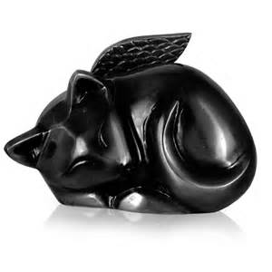 black cat urn cat urn sleeping cat black