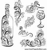 Wine Coloring Pages Glass Adults Bottle Tattoo Coffee Adult Colorpagesformom Advanced Bottles Mandala Colouring Sheets Fun Clip Craft Grapes Drinks sketch template