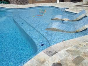 Travertine Pool Tile with Glass