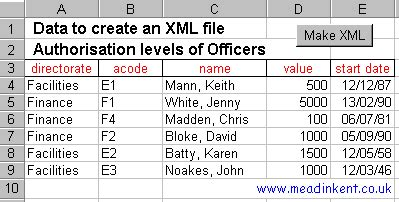 excel converting excel tables into xml files