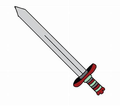 Sword Draw Easy Drawing Drawings Step Clipart