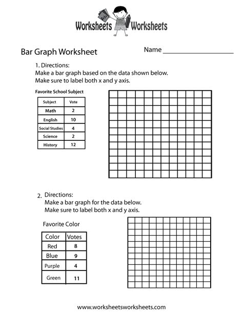 making bar graph worksheet  printable educational