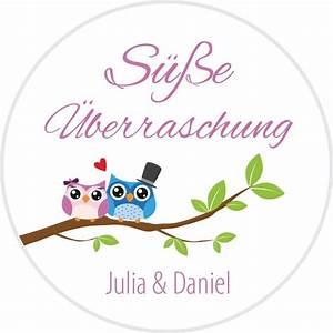 Gastgeschenke Hochzeit Personalisiert : aufkleber hochzeit rund mit s em motiv eulenliebe ~ Frokenaadalensverden.com Haus und Dekorationen