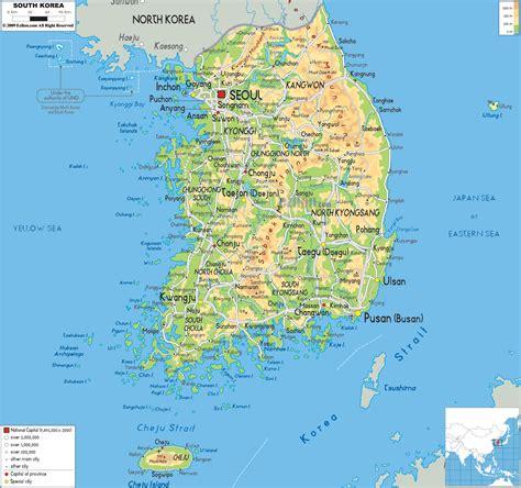 korea description  physical map  south korea