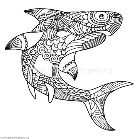 zentangle shark coloring pages getcoloringpagesorg