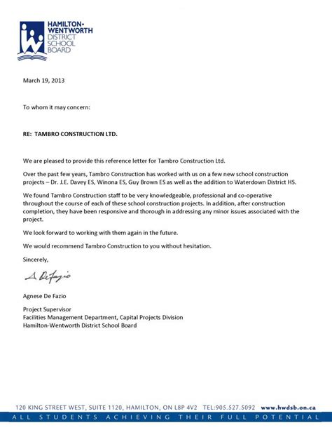 a reference letter reference letters tambro construction