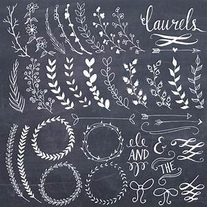 CLIP ART: Chalkboard Laurels & Wreaths // Clipart Photoshop