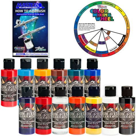 12 createx colors 2oz airbrush paint with reducer color wheel ebay