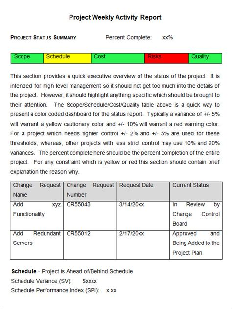 weekly activity report template   word excel