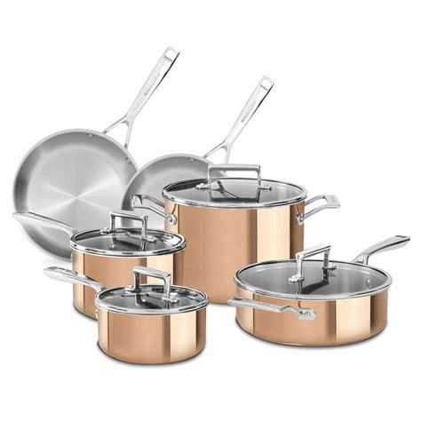 kitchenaid copper clad tri ply  piece cookware set  shipping  ebay