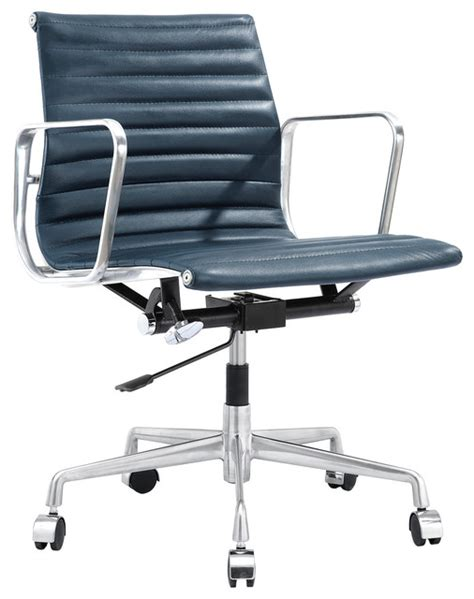 m341 modern office chair in navy blue italian leather