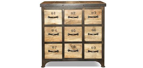 stickers muraux pour cuisine commode vintage industriel bois 9 tiroirs pas cher