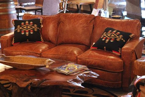 leather  hair  hide sofa rustic living room