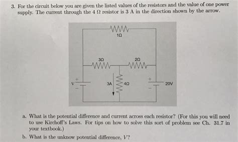 Solved For The Circuit Below You Are Given Listed Val