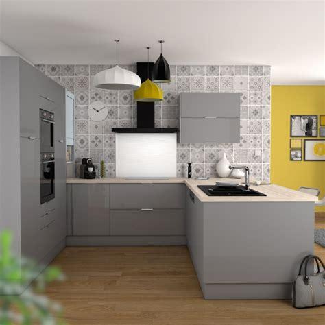 cuisine oskab meuble de cuisine bas four stecia gris bandeau bas l60 x