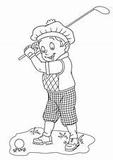 Coloring Golfer Happy sketch template