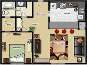 One bedroom apartment floor plan one bedroom apartment for One room apartment design plan