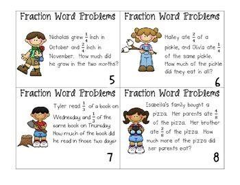 fraction word problem task cards by ashleigh teachers