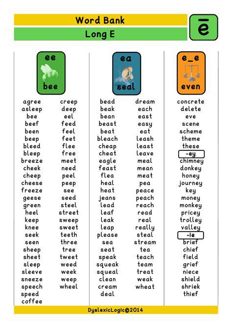 long vowel resources ea dyslexic logic