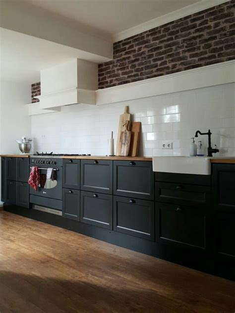big kitchen ikea metod laxarby black  long