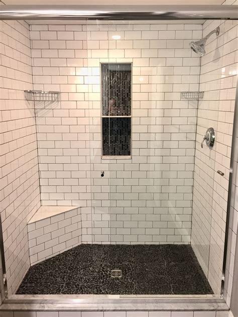 master shower subway tile  grey grout vertical