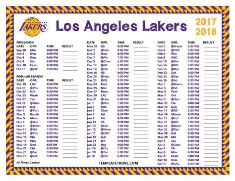 printable   los angeles lakers schedule