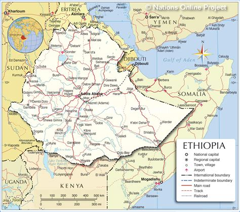 political map  ethiopia nations  project