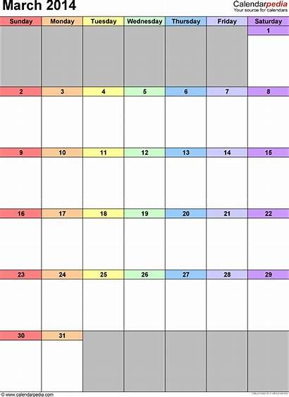 Calendar March Excel Portrait Printable Calendars Templates