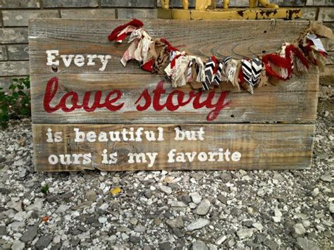 love story reclaimed wood sign handpainted