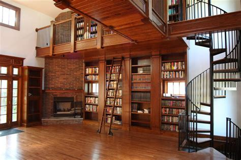 Living Room Library by Rolling Library Ladder Traditional Living Room