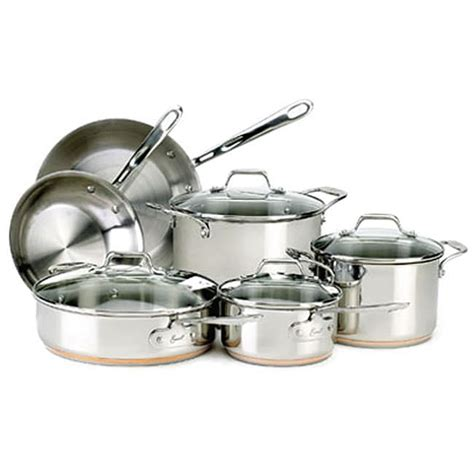 emeril  clad  piece stainless cookware set  shipping today overstockcom