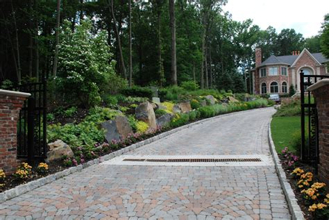 driveway landscape design nj paver driveway design ideas pavers vs asphalt surface nj landscape design swimming