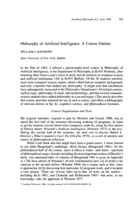 Philosophy of Artificial Intelligence: A Course Outline