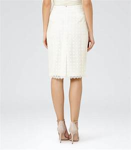 Denise Off White Lace Pencil Skirt - REISS