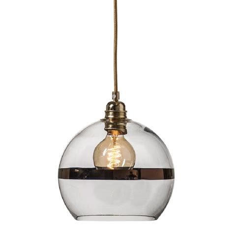 small clear glass globe ceiling pendant light with copper