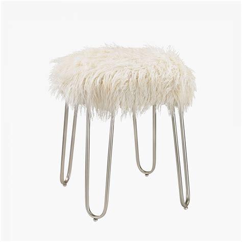 white faux fur stool hairpin leg faux fur stool shop stools and poufs dear 1297