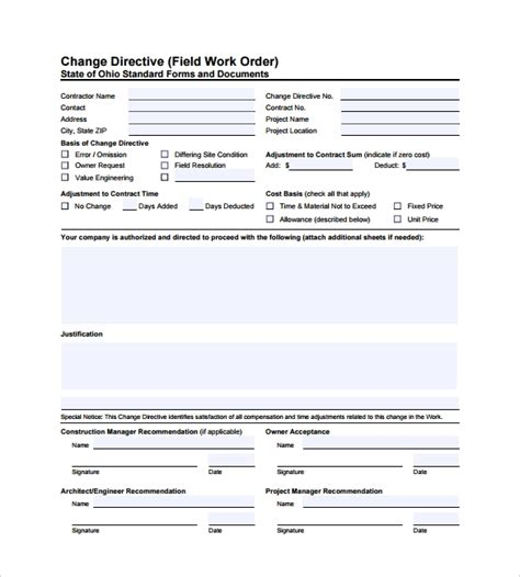 sample construction work order forms  sample