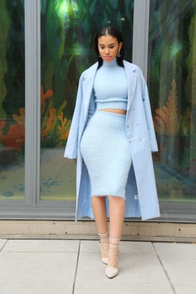 picked color baby blue winter outfits celebrity