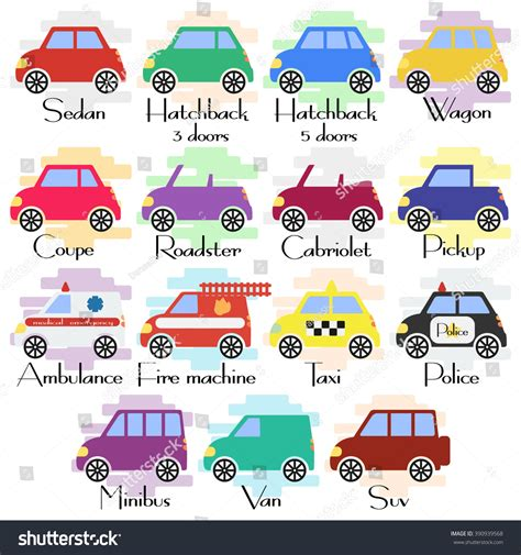 Set Of Various Kinds Of Car Body Icons In Flat Style