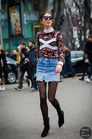 Denim Mini Skirt Street-Style