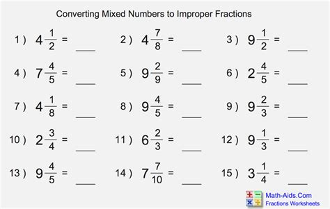 Converting Improper Fractions Into Mixed Numbers Dailypollco